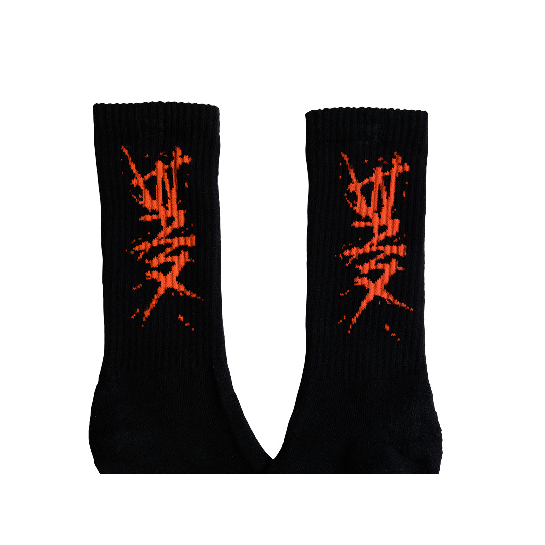 """CHARGED"" SOCKS - BLACK RED (2 PAIRS)"