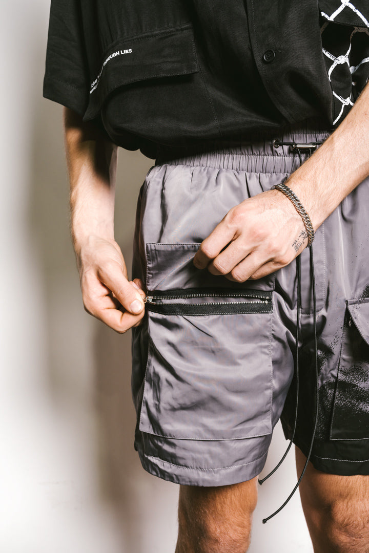 WIRED EYES Utility Shorts - GUN METAL GREY