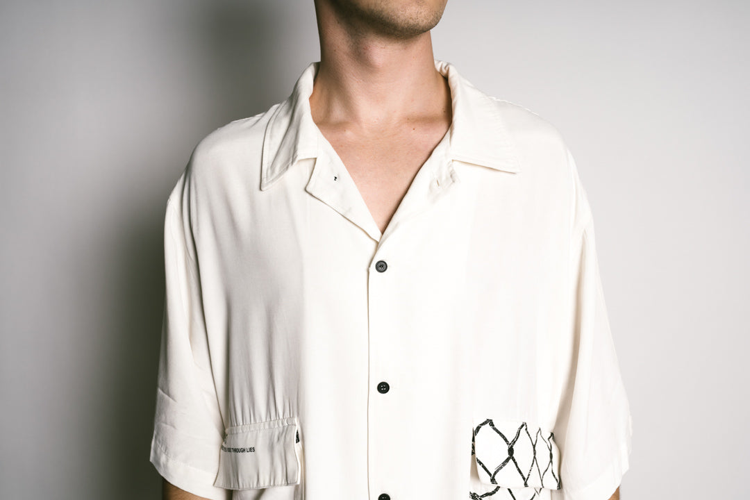 WIRED EYES Oversized Button Up - WHITE