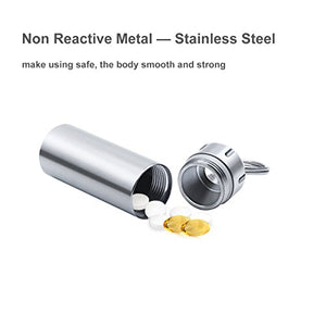 Stainless Steel Key Chain Pill Box