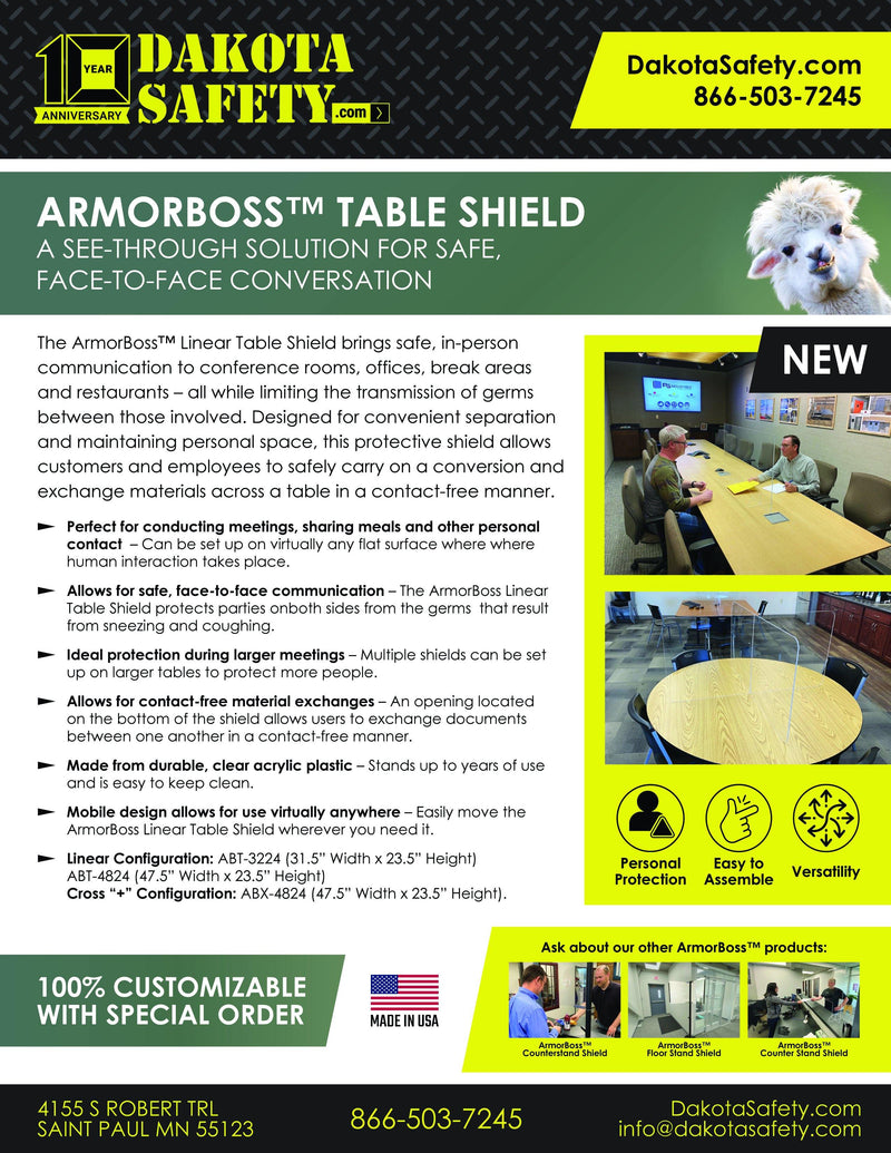 "ArmorBoss Linear Table Shield 31.5"" x 23.5"""