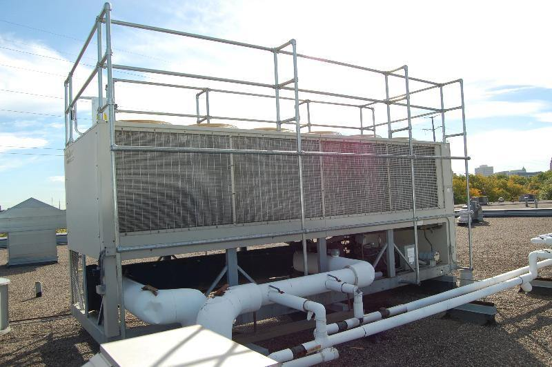 fall protection guardrail system for chiller units or HVAC units; handrail systems for HVAC units