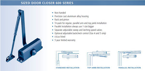 653AL Door Closer Cut Sheet