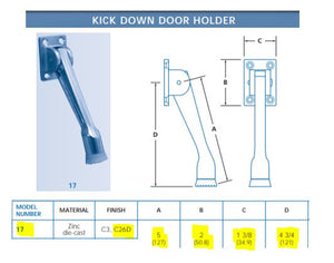 Drop Down Door Holder Specs