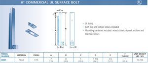 "8"" Surface Bolt Specs"