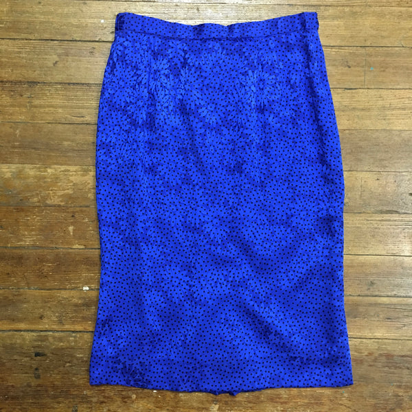 Cobalt Blue Silk Daisy Print Pencil Skirt