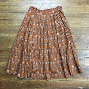 50's Novelty Print Peacock Print Skirt