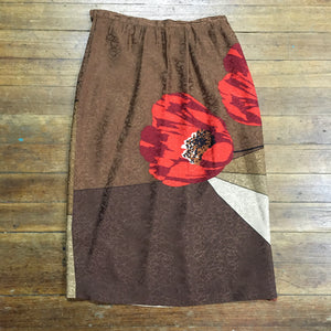 Autumnal Lush Silk Skirt with great 80s Art Design