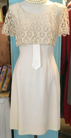 Perfect 60s Cream Cocktail Wiggle Dress for the Vintage Bride
