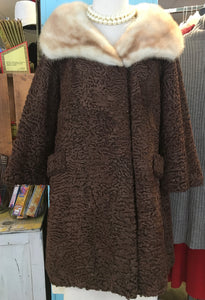 Timeless 60s Lamb Coat with Blonde Mink Statement Collar
