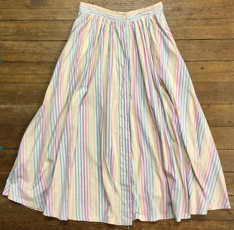 Rainbow Pastel Striped Mid-Length Skirt