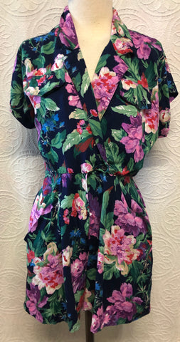 Bold Floral 80s Shorts Romper
