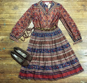 80's Leslie Fay Autumnal Dress