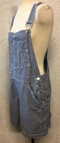 Perfect Navy Blue Gingham 90s Overalls