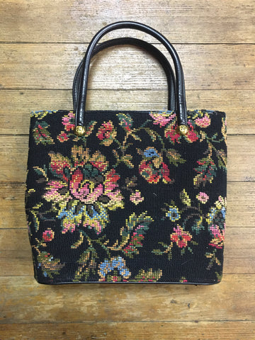 1960s Oversized Needlepoint Tapestry Bag