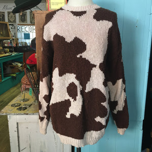 80's Perry Ellis Cotton Brown & White Sweater