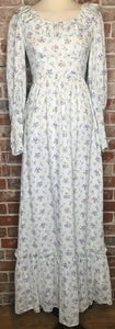 Boho Wedding Prairie Floral White Maxi Dress