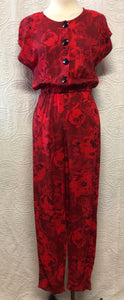 Awesome 80s Red Rose Jumpsuit