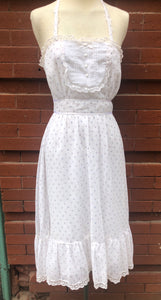Beautiful 80s Airy Boho White Hippie Dress