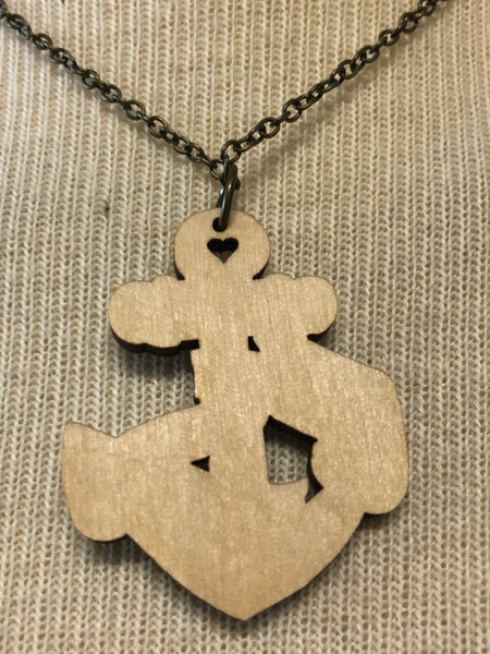 Ahoy! Super Fun Anchor Wooden Necklace
