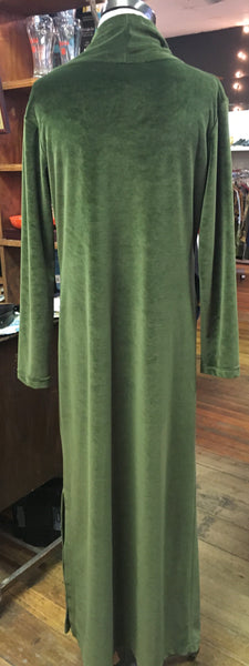 Cozy and Elegant 90s Green Velour Dress