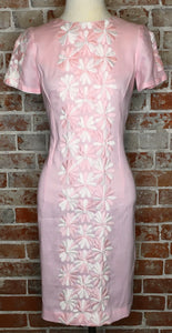 Easter Pink 60s Embroidered Linen Shift Dress