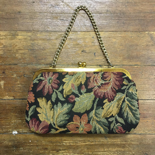60s Tapestry Floral Purse with Gold Trim