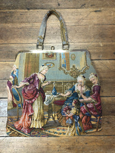 Beautiful Oversized Victorian Tapestry Hand Bag