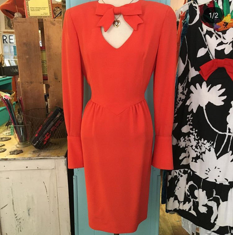 80's Orange Dress with Cut-out and Bow