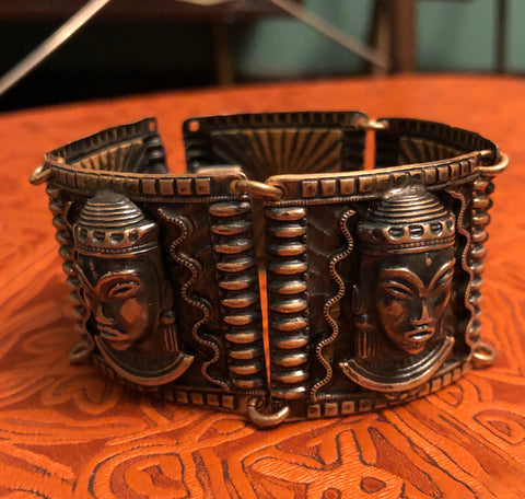 60s Egyptian Revival Sun God Brass Bracelet