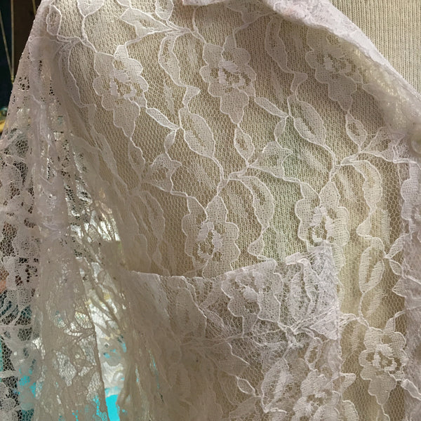 Romantic 80s White Lace Blouse 3/4 Sleeves