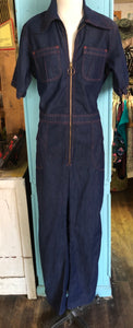Disco Fly 1970s Unisex Denim Zipper Jumpsuit