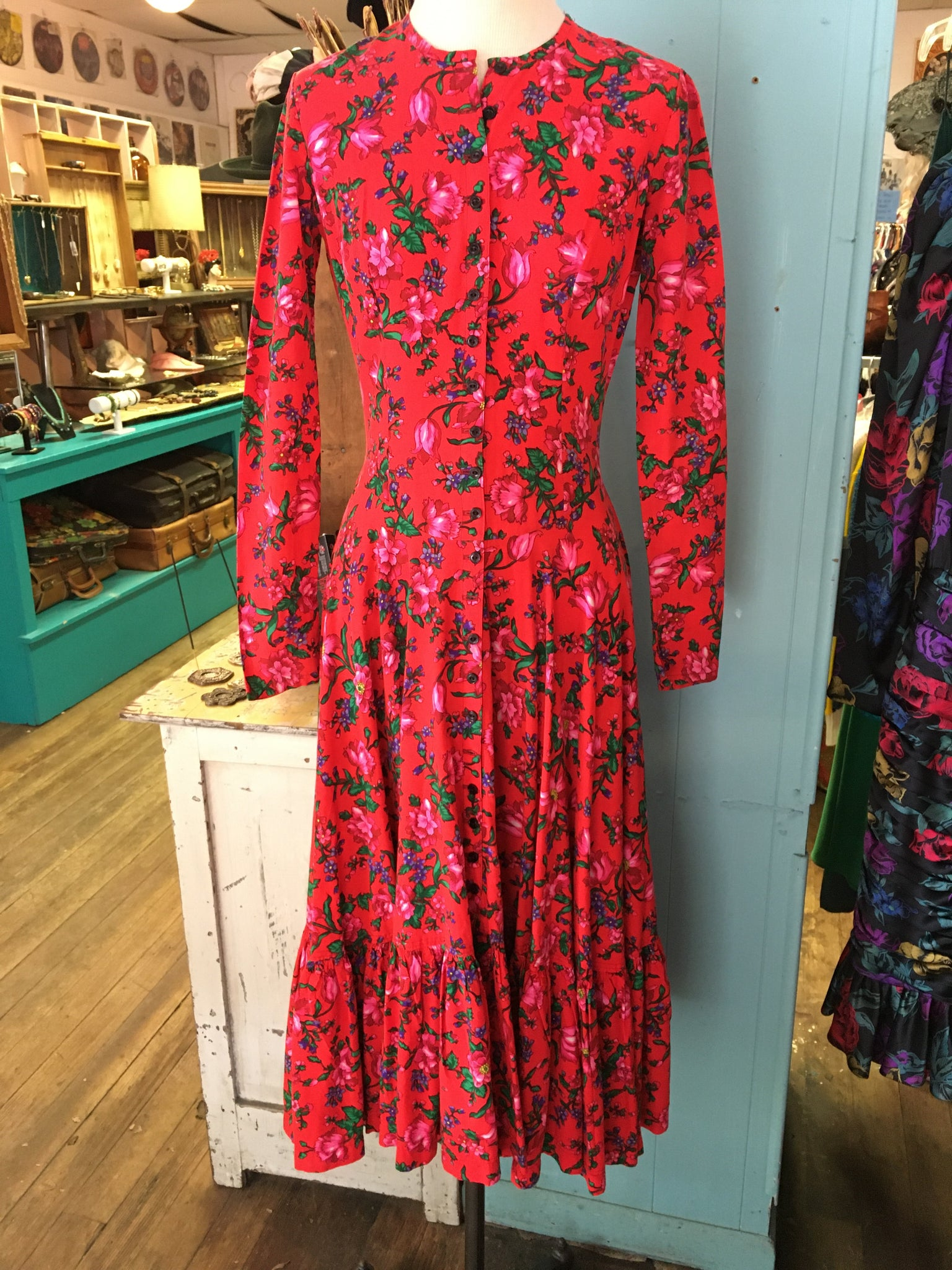 Red Floral Maxi Alley Cat Label Betsey Johnson Dress