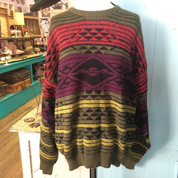 80's Southwestern Patterned Striped Sweater