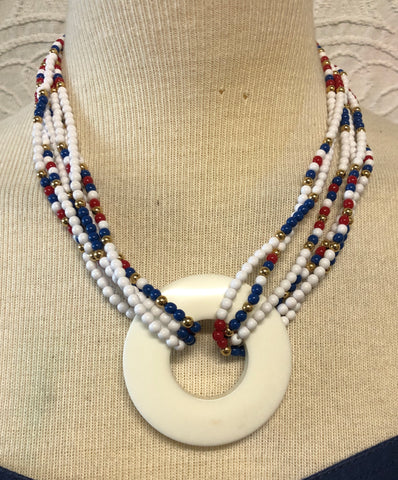 80s Red White & Blue Monet Beaded Necklace