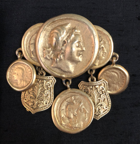 1990s Greek Gold Coin and Crest Brooch