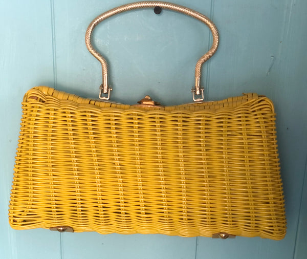 Bright Yellow 60s Woven Handbag Purse