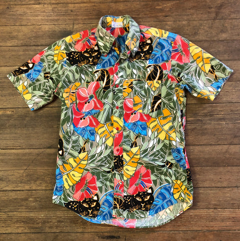 Panther 80s Men's Jungle Print Hawaiian Shit