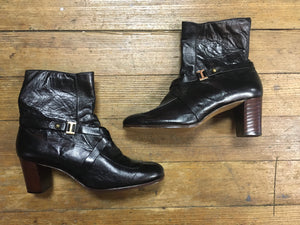 Classic 70s Black Booties with Buckles