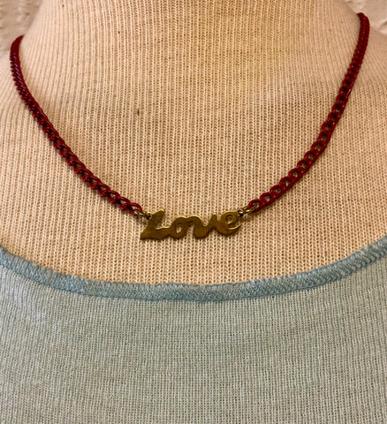 All you Need is Love necklace with red vintage chain