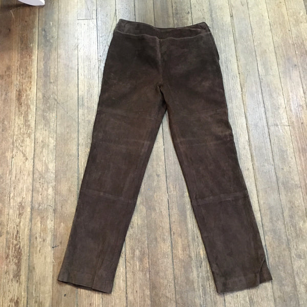 90s Flared Brown Leather Trousers