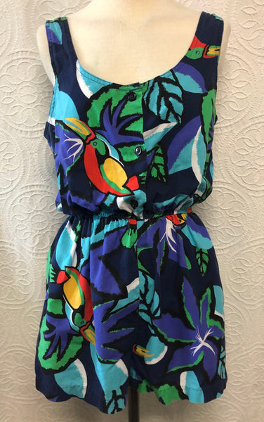 Awesome 80s Toucan Jungle Cotton Romper with Pockets!