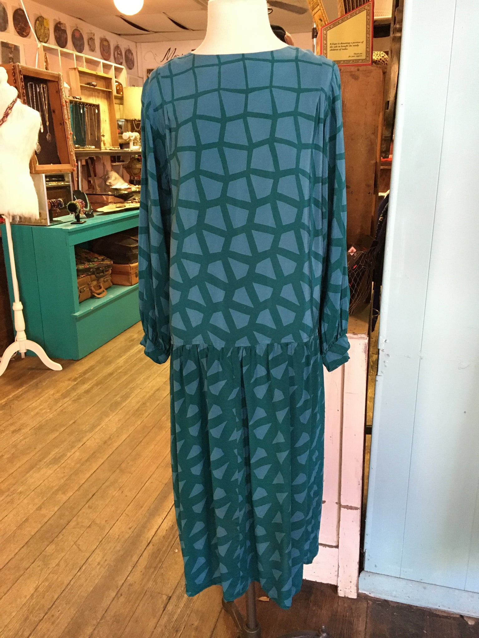 80's Turquoise Art Silk Maggy London Dress.