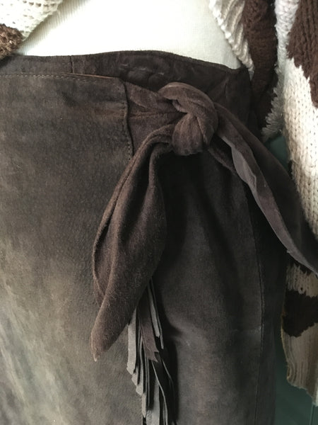 Brown Suede Wrap Skirt with Fringe