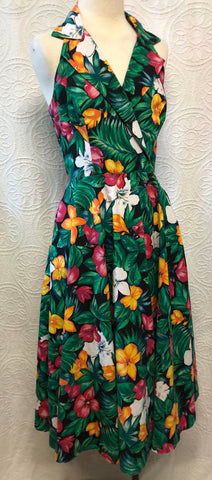 Tropical Paradise 80s does 50s Halter Dress