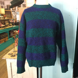 Classic Green & Blue Striped Wool Sweater