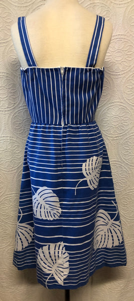 Perfect Striped 80s Blue Cotton Sundress