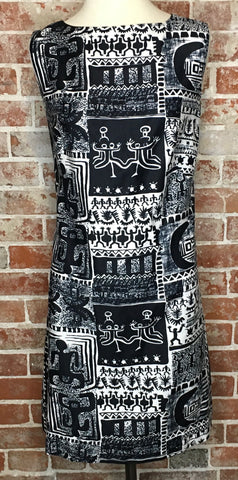 Stunning Black and White Tribal Shift Dress