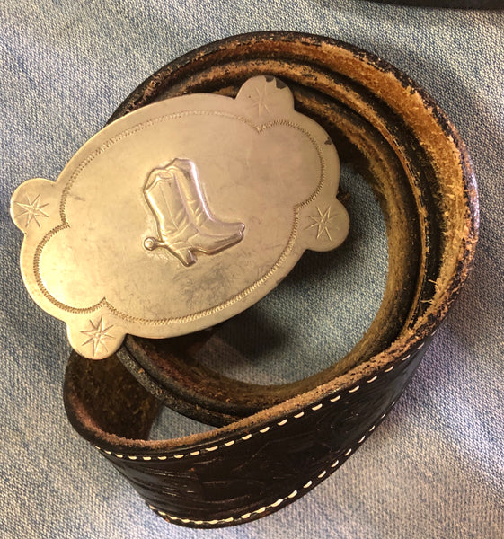 80s Silver-tone metal Boots Belt Buckle