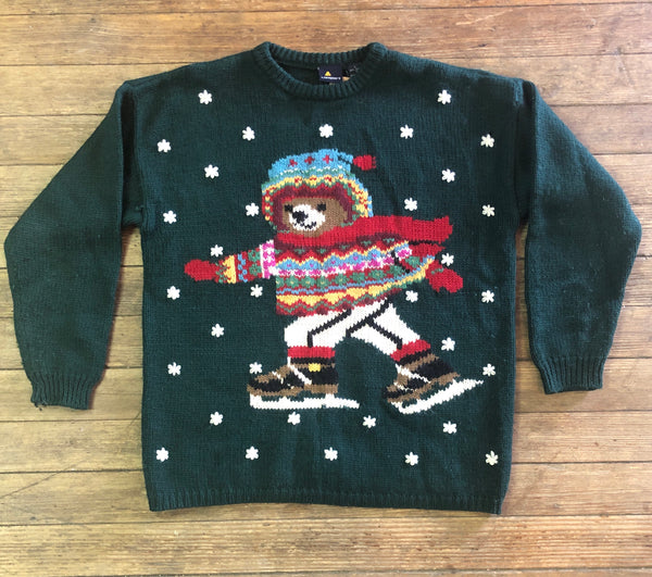 Adorable Ice Skating Bear Sweater by Lizsport